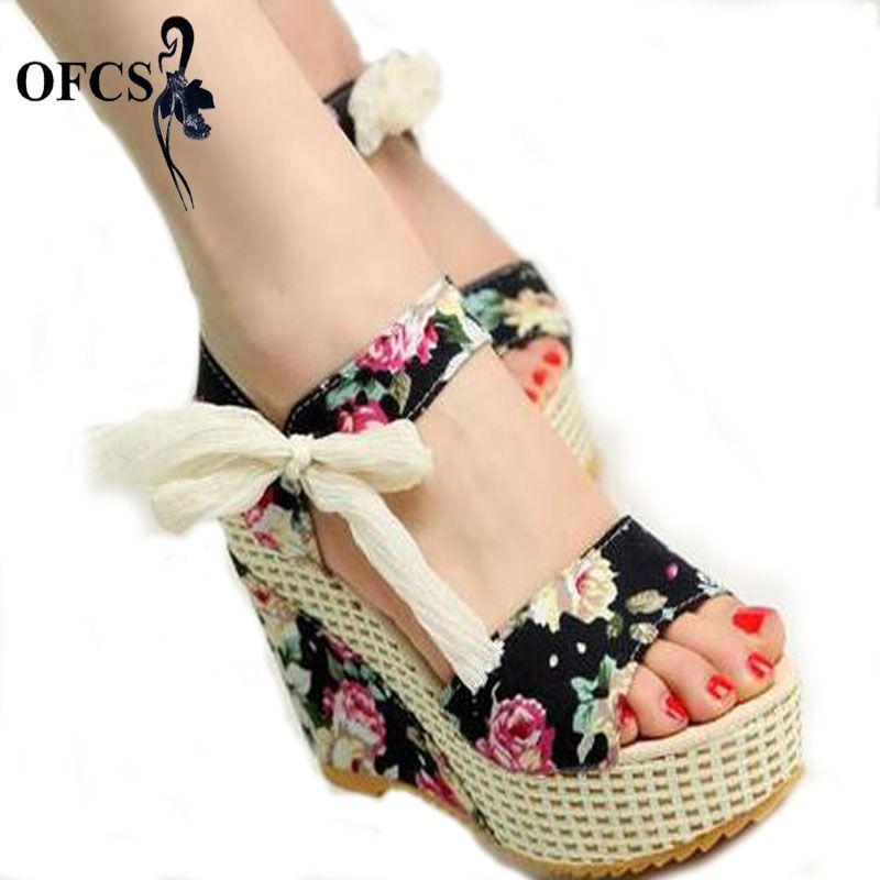 Summer Wedges Women's Sandals Platform Lace Belt Bow Flip Flops open toe high-heeled Women shoes Female