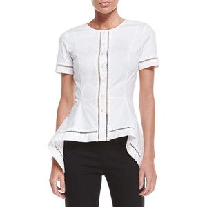 Carolina Herrera Short-Sleeve Button-Front Blouse