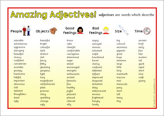 Adjectives Vocabulary Word List