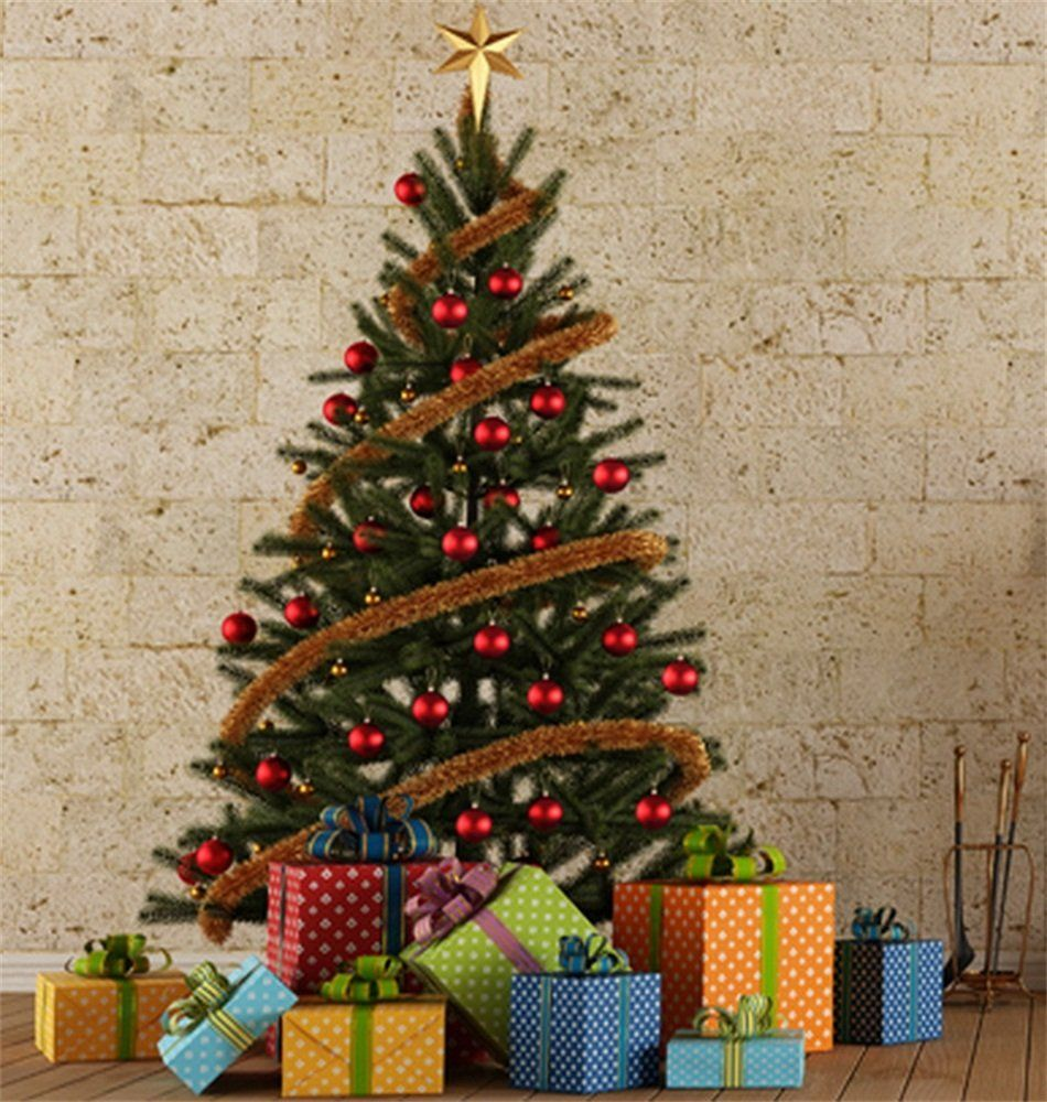 Lfeey 5x7ft Vinyl Thin Photography Background Christmas Tree Gift ...