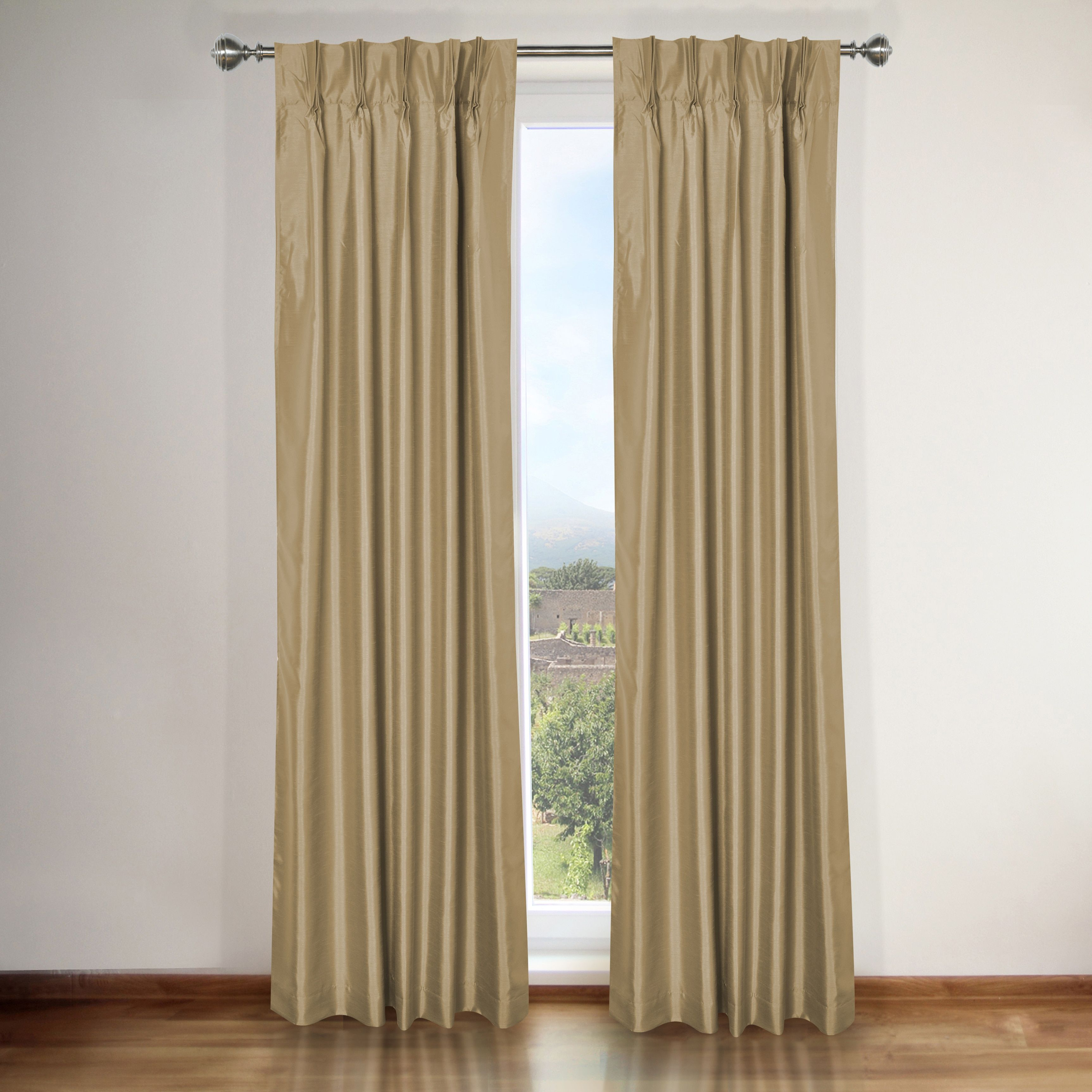 Famous Home Elaine Taupe Brown Pinch Pleat Curtain Panel Pair