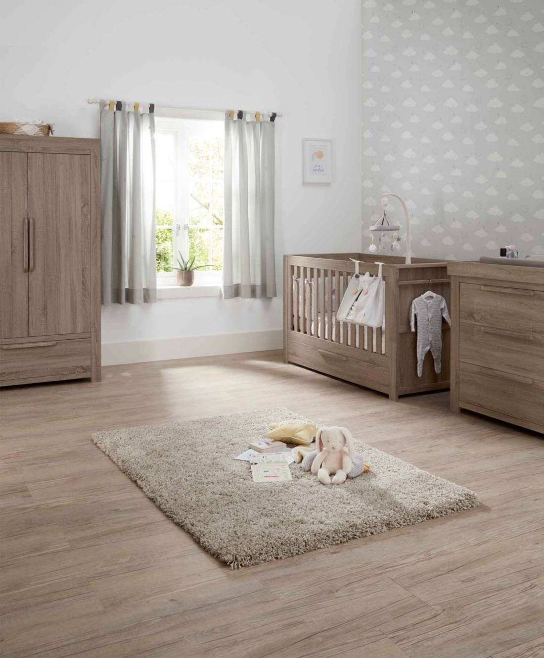 Franklin 3 Piece Cot Bed Range With Dresser And Wardrobe Grey