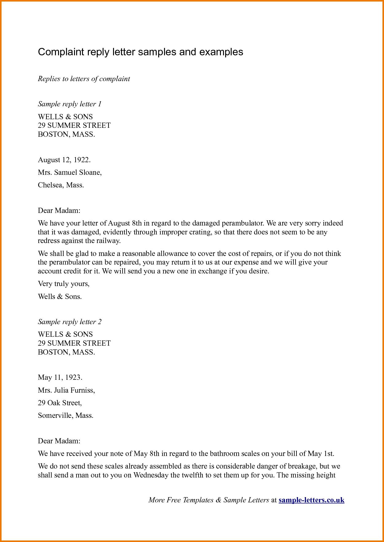 complaint templates complaints letter template coupon letters ...