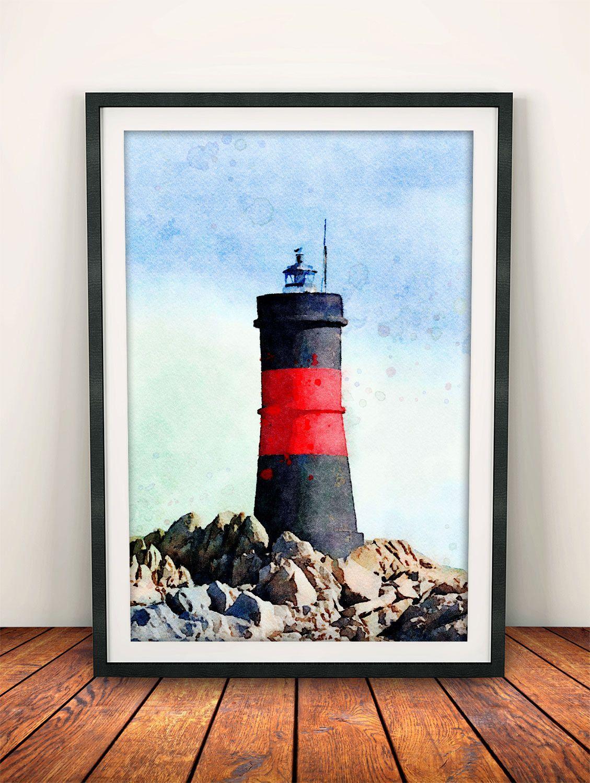Lighthouse Print, Lighthouse Decor, Lighthouse Painting, Home Decor, Wall  Art Decor,