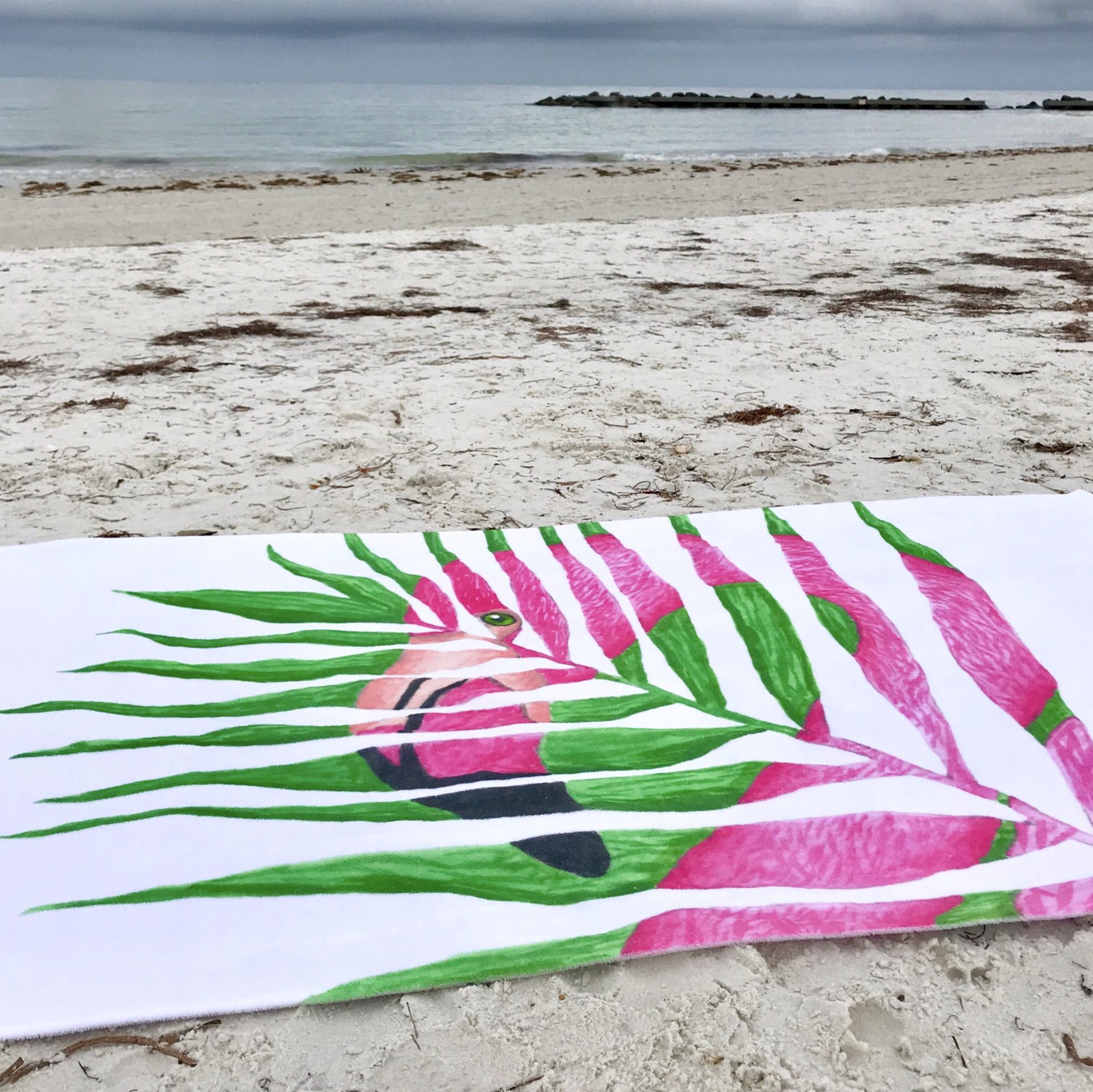 Tropical flamingo palm leaf print beach towel from Society6. Unique ...