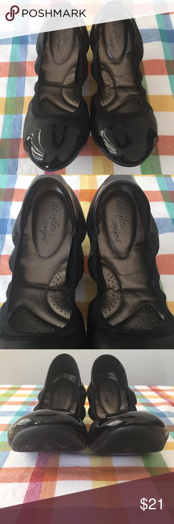 f9d198acbd Dexflex Comfort Black Claire Scrunch Flats Size 7 Dexflex Comfort Women's  Black Claire Scrunch Flats Size 7 Cap Toe Patent Stretch dexflex comfort  Shoes ...