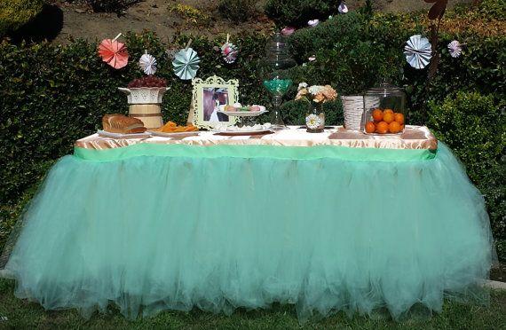 Custom Tutu Table Skirt, Candy Buffet Skirt, Centerpiece, Head Table Skirt  From Bailey Had A Party