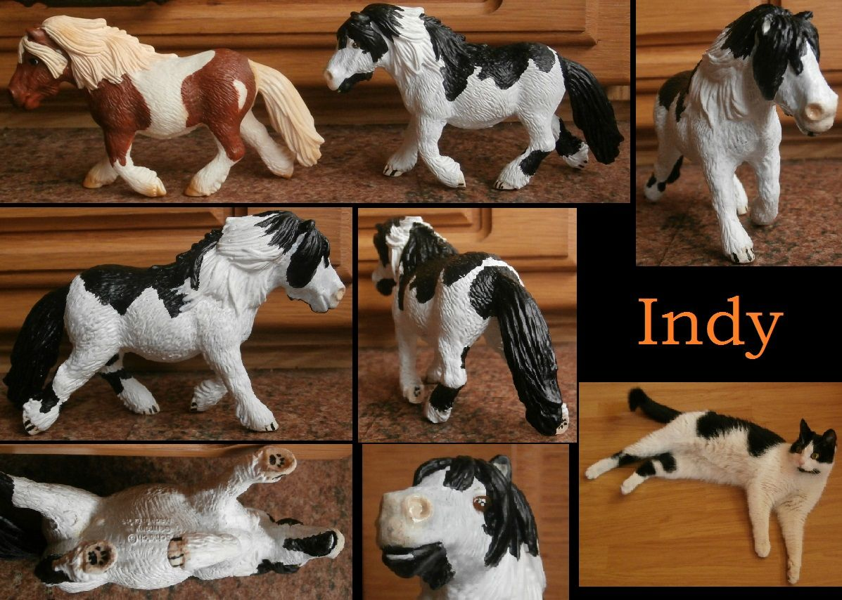 Repainted a schleich shetlander mare to resemble my favourite cat, Indy :P I even gave her cute little kittypaw-pads ♥