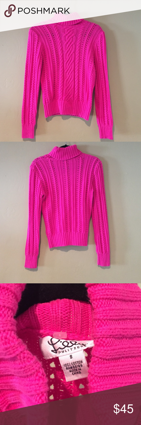 Lilly Pulitzer Turtleneck Cable-Knit Sweater | Cable knit sweaters ...