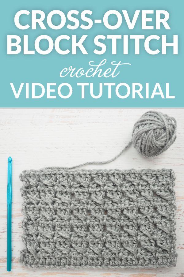 The Cross-Over Block Stitch Crochet Tutorial | Tejido, Ganchillo y ...