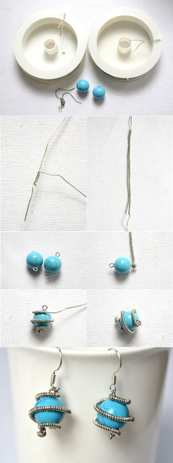 DIY Wire Wrapped Turquoise Bead Earrings Tutorial from LC.Pandahall ...