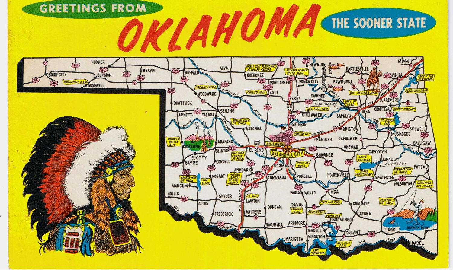 Vintage Postcards Greetings From Oklahoma State Map Postcard – Map Oklahoma State
