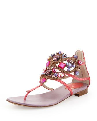 Rene Caovilla Chandelier Thong Sandal, CoraL | SS 2014 | cynthia reccord