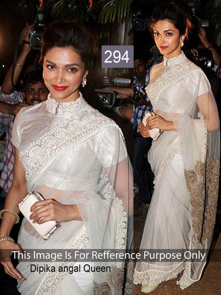 adf8173ca2b514 Deepika Padukone Net Thread Work Cream Bollywood Style Saree - 294 In  Stock  Rs 2
