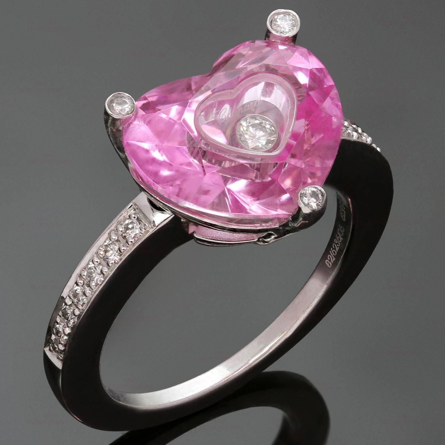 CHOPARD Happy Diamond Heart Pink Quartz White Gold Ring | chopart ...