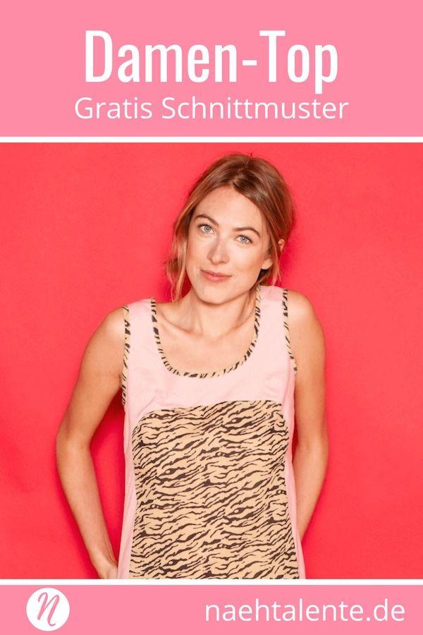 f6658605d0717a Gratis Schnittmuster süsses Top für Damen zum selber nähen ❤ einfach ❤ PDF- Schnittmuster zum