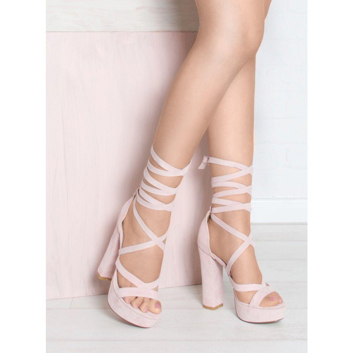 Amelia Pink Suede Lace Up Platform Heels - Lace Up Heels - HEELS ...