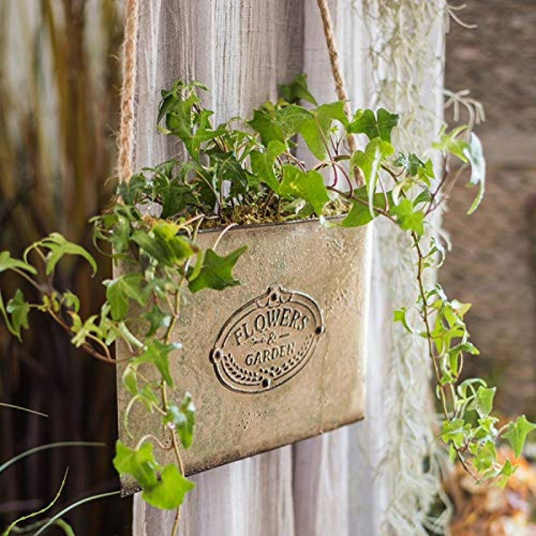 French Country Rustic Chic Letter Metal Wall Hanging Planters Iron Holder Hanging Planters Flower Pot Art Hanging Flower Baskets