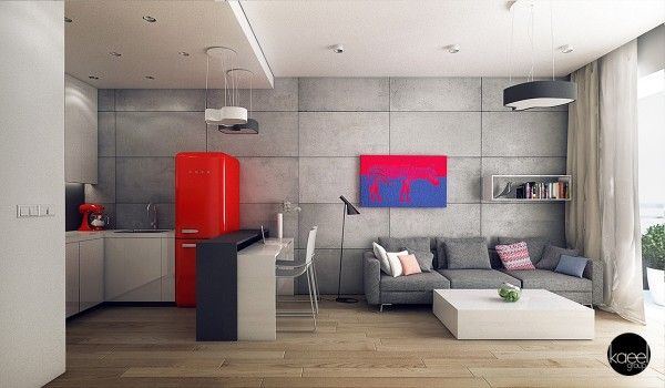 23 idées déco de cuisines ouvertes sur le salon Concrete, Living
