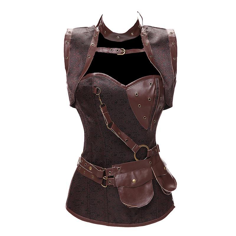 4e8cd1d85 Faux Leather Punk Corset Steel Boned Gothic Clothing Basque ...