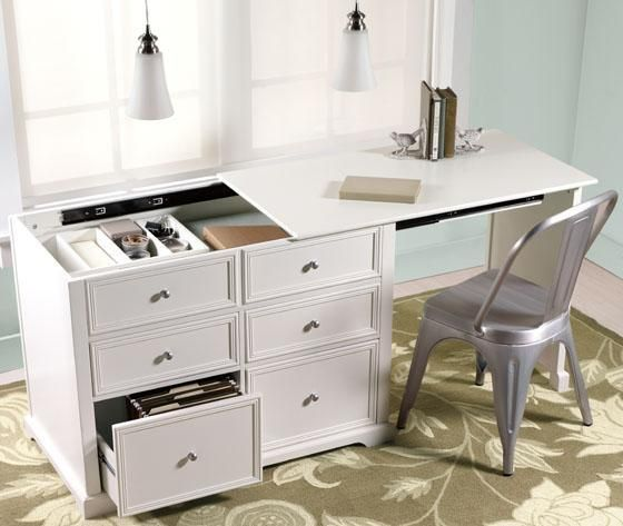 Very Cool The Desk Stores As A Set Of Drawers And Pulls Out To Fit A Chair Good For Crafting In Small Sp Hidden Desk Desks For Small Spaces Home Office