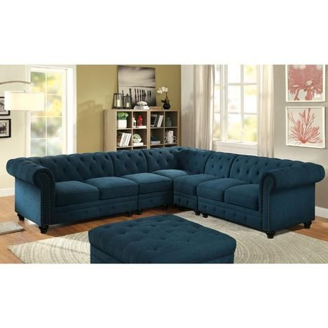 Furniture Of America Stanford II Sectional Set Dark Teal Linen Like Fabric Tufted  Sofa W 2