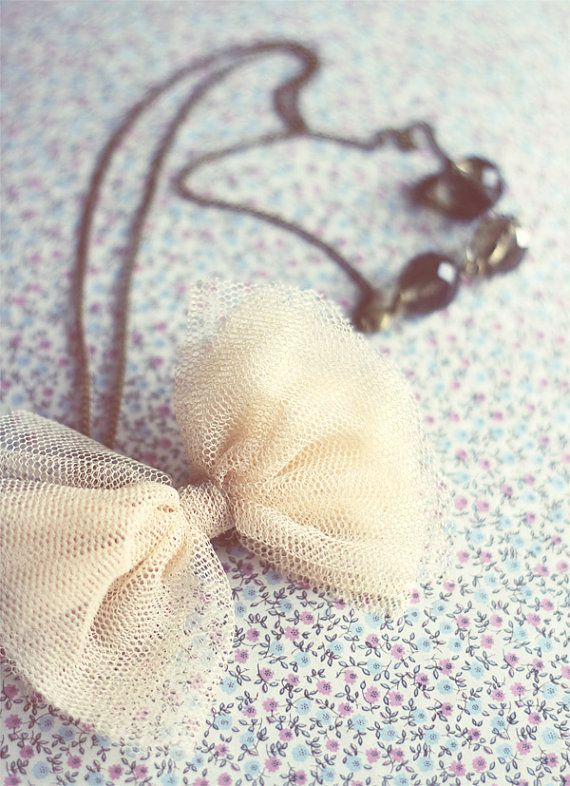 Romantic necklace. Cream tulle bow and by ModernismAndVintage, $23.50
