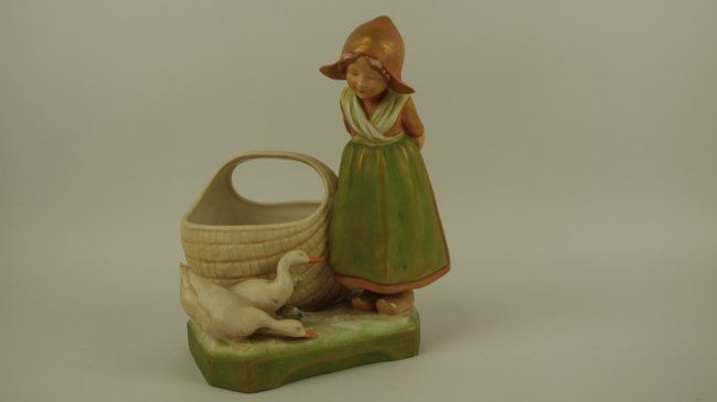 Royal Dux figure of Dutch girl with basket and 2 ducks,