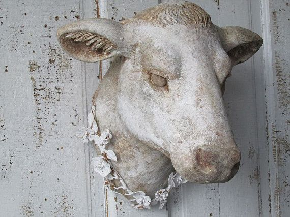 French Cow Head Wall Mount Faux Hand Painted Rustic Farmhouse Mounted Heifer Taxidermy Large Hanging Home Decor Anita Spero Cow Head Cow French Farmhouse Decor