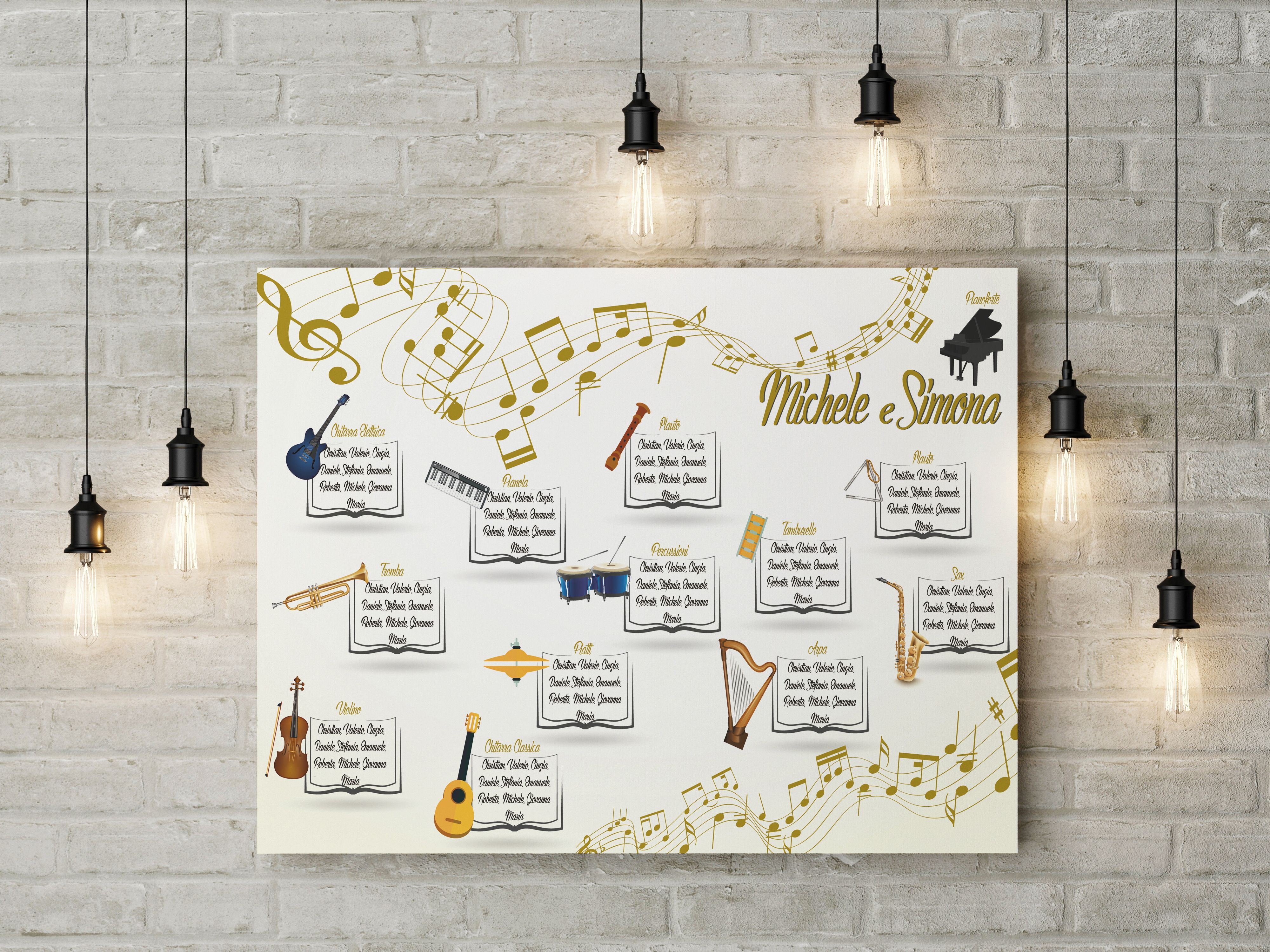 Matrimonio Tema Arte : Tableau de marriage a tema strumenti musicali grafica