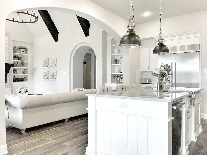 White Kitchen island paint color Crisp white kitchen island cabinet