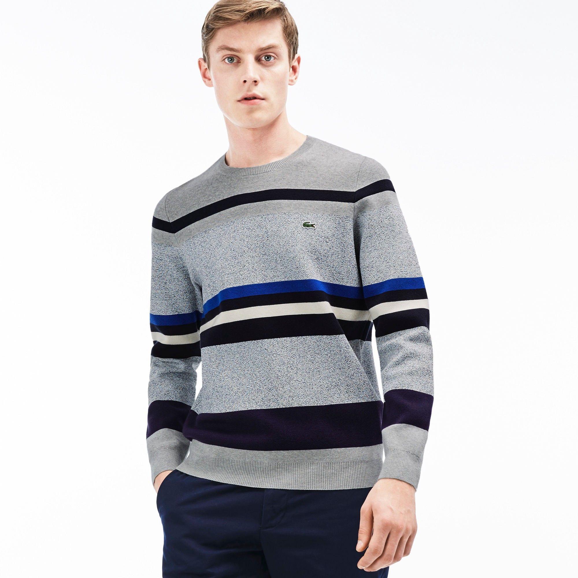 e6681789a2 LACOSTE Men'S Crew Neck Striped Color Block Sweatshirt - Silver Grey ...