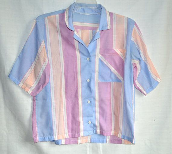 Pastel Striped Shirt 80s Button Up Shirt Vintage Blouse Etsy Blouse Vintage Button Up Shirts Striped Shirt