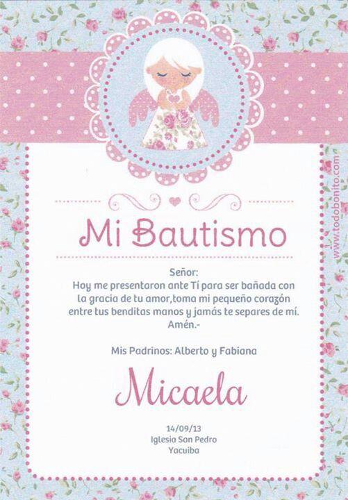 Invitación Estampitas Bautismo Tarjetas De Bautismo Nena