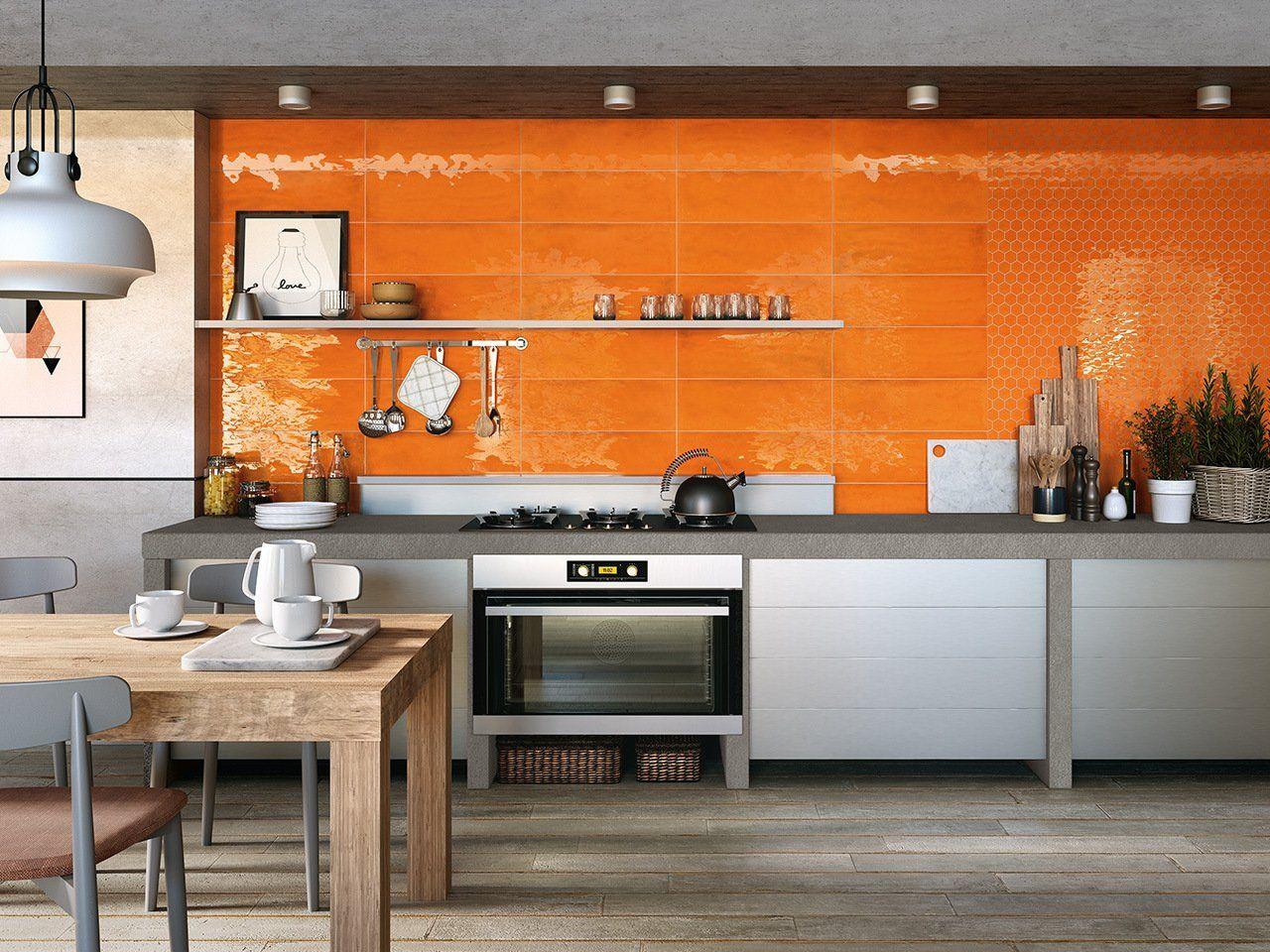 Piastrelle Arancioni Per Bagno mosaico intinta mandarino 28,8x33,3 lucido esagonale