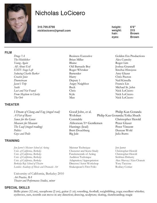 example actor resume format latest acting sample free fax cover