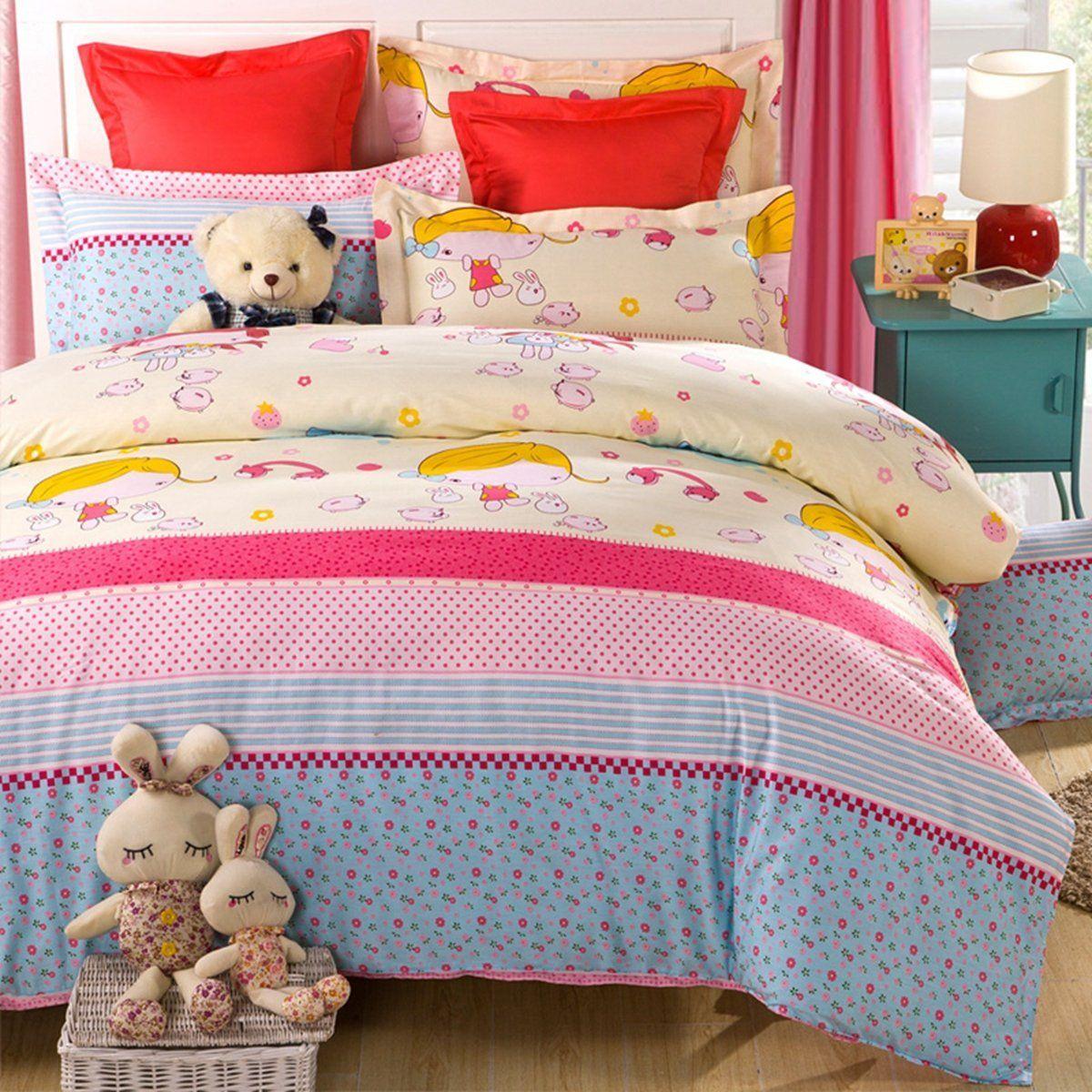 CASA 100% Cotton Kids Bedding Cute Girl Duvet Cover Set & Flat sheet,4 Piece,Queen //Price: $95.67 & FREE Shipping //     #hashtag3