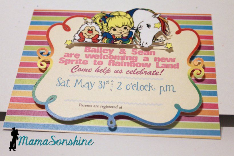 Rainbow Brite Baby Shower Invitation