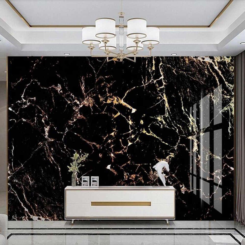 Milofi Custom 3d Light Luxury Gold Black Marble Background Wall Mural Wallpapers Aliexpress Marble Wall Mural Wall Painting Living Room Marble Wallpaper Bedroom