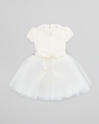 Sweater Dress with Tulle Skirt, Cream, Sizes 4-6X by Ralph Lauren at Neiman Marcus.