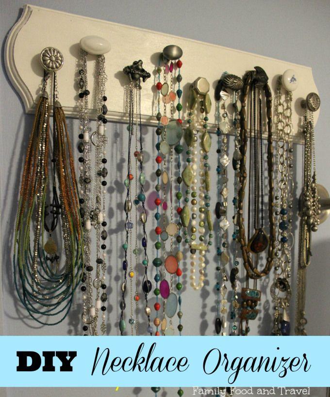 DIY Necklace Organizer Diy necklace Organizing and Craft