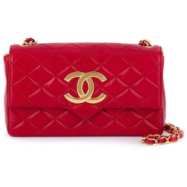 Chanel Vintage logo plaque shoulder bag ($4,868) ❤ liked on Polyvore featuring bags, handbags, shoulder bags, red, chanel shoulder bag, quilted chain handbag, chain handbags, quilted chain purse and chain shoulder bag