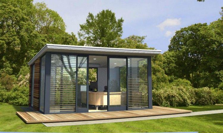 Pavillon de jardin en verre et métal terrasse en bois massif