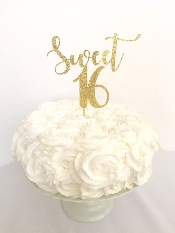16th Birthday Cake Topper Number 16 Cake Decor Glittery Silver Large