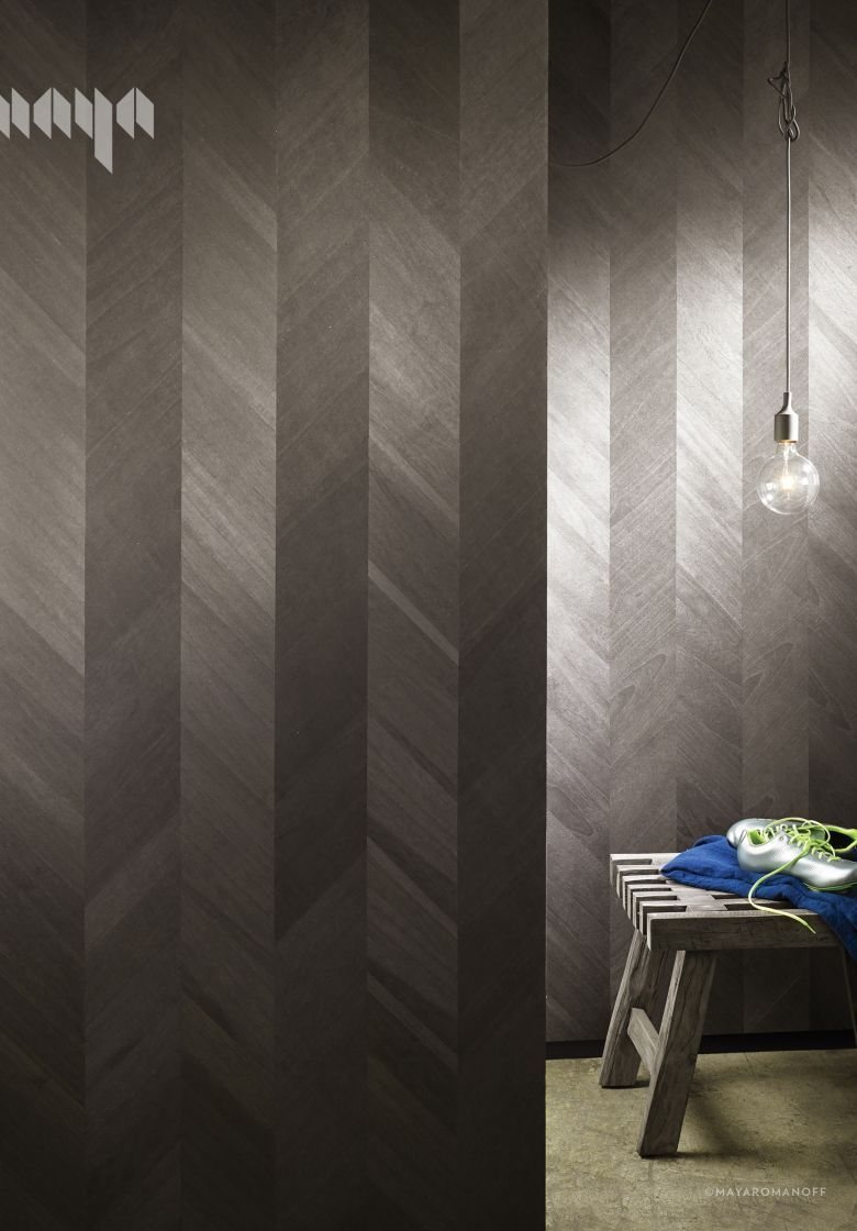 Ajiro Chevron Wood Veneer Wallcovering Now Comes In Ebony A Black And Silver Grey Colorway New For 2016 Wall Paneling Design Wood Cladding
