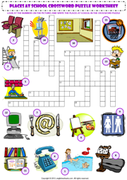 places at school crossword puzzle esl worksheet parts of. Black Bedroom Furniture Sets. Home Design Ideas