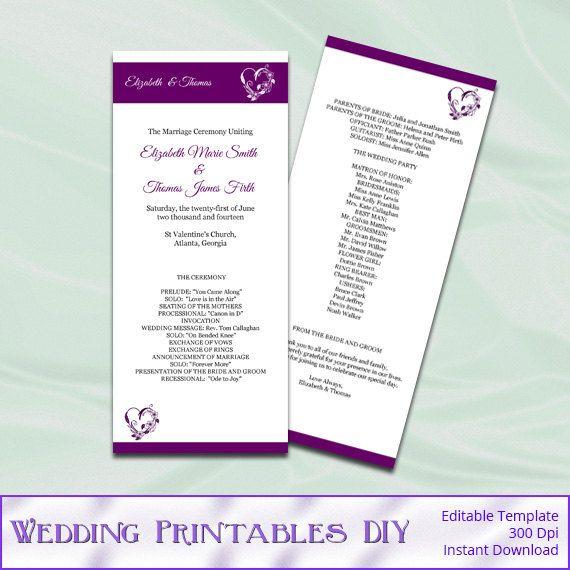 Plum Purple Diy Printable Tea Length Wedding Program Template