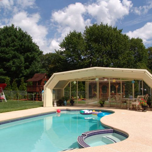Connecticut Glass Pool Enclosure Manufactured By Roll A Cover In 2020 Residential Pool Pool Enclosures Pool