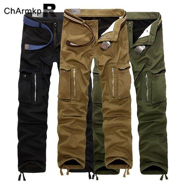 ChArmkpR Mens Plus Size Thick Trousers Winter Polar Fleece Lined Cargo  Loose Fit Pants 736dafd1dd
