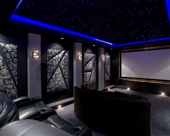 Media Room Design--I really like dark media roomsmakes them more